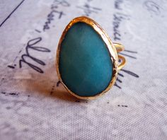 Handmade gold plated ring with tear drop light blue agate by GardenOfLinda on Etsy