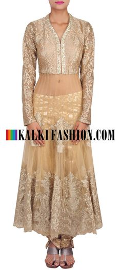Get this beautiful golden outfit here: http://www.kalkifashion.com/beige-anarkali-suit-embellished-in-zari-embroidery-only-on-kalki-11978.html Free shipping worldwide. #50ShadesOfGold
