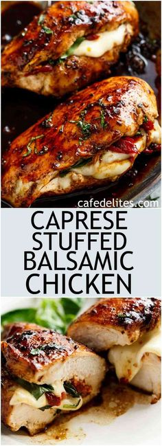 Caprese Stuffed Balsamic Chicken is a twist on Caprese, filled with both fresh AND Sun Dried Tomatoes for a flavour packed chicken! cafedelitescom The post Caprese Stuffed Balsamic Chicken is a twist on Cap… appeared first on Woman Casual - Food and drink Balsamic Chicken Recipes, Caprese Stuffed Balsamic Chicken Recipe, Stuffed Chicken Recipes, Italian Stuffed Chicken, Chicken Stuffed With Mozzarella, Chicken Meals, Baked Caprese Chicken, Italian Chicken Recipes, Chicken With Balsamic Glaze