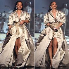 Rihanna Alexandre Vauthier champagne gold gown fall 2016 couture and grommet…