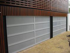 Aluminium frame with perforated aluminium inserts. Custom Garage Doors, Garage Door Design, Custom Garages, Sectional Garage Doors, Laser Cut Panels, Design Your Own, Custom Design, Frame