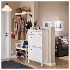 HEMNES Shoe cabinet with 2 compartments IKEA Helps you organize your shoes and saves floor space at the same time. HEMNES Shoe cabinet with 2 compartments IKEA Helps you organize your shoes and saves floor space at the same time. Ikea Hallway, Hallway Shoe Storage, Ikea Entryway, Hallway Furniture, Hallway Ideas, Furniture Ideas, Shoe Cabinet Entryway, Ikea Shoe Storage, Entryway Hooks