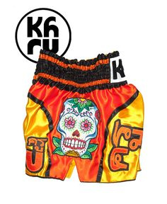 Dia de los Muertos Muay Thai shorts Gold/ Orange (side)