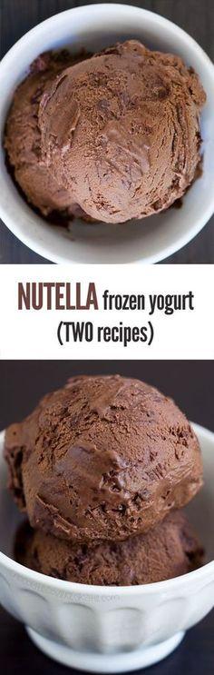 Nutella Frozen Yogurt – Ingredients: 2 cups plain yogurt, 1/2 cup cocoa powder, 1/8 tsp pure vanilla extract, 2/3 cup... Full recipe: http://chocolatecoveredkatie.com/2015/06/08/nutella-frozen-yogurt/ /choccoveredkt/