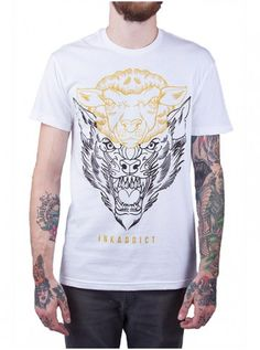 "Men's ""Deception"" Tee by InkAddict (White/Gold) #InkedShop #tee #top #Mens…"