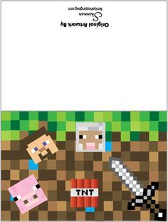 These were perfect for our Minecaft Birthday Thank You Notes! Card, Minecraft, Invitations - Free Printable Ideas from Family Shoppingbag.com