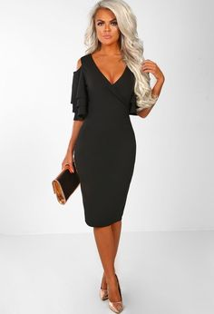 570b99b8fa0d3 Over The Drama Black Frill Sleeve Bodycon Dress   Pink Boutique Bodycon  Dress With Sleeves,. Pink Boutique UK