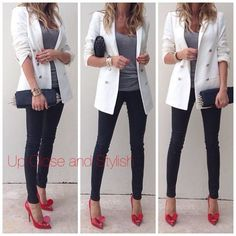 White blazer, Gray tee, Black trousers (leather for me), Red shoes, Black bag - Casual Outfit Red Heels Outfit, Heels Outfits, Blazer Outfits, Mode Outfits, Fashion Outfits, Red Shoes, Red Pumps, Yellow Pumps, Burgundy Shoes