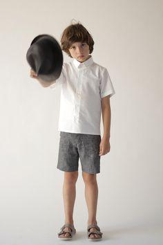 MOTORETA SS16   Pocket short, marbled grey & Cordoba shirt, white