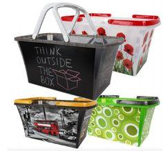 Einkaufskorb Kunststoff mit Henkel 21 Liter stabil und trendige Motive