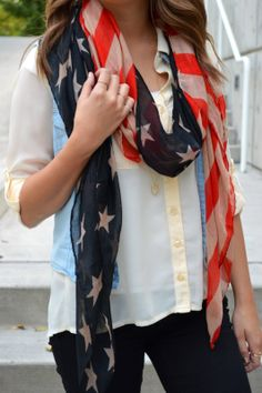 Cute Vintage American flag scarf! Love this for the olympics or for 4th of July!