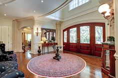 Spacious, traditional foyer - My dad's grand entrance at 1207 Lakeshore Rd East, Oakville Grand Foyer, Grand Entrance, Exterior Design, Interior And Exterior, Ontario, Foyers, Traditional House, Luxury Real Estate, Luxury Homes