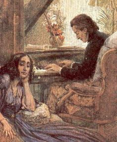 The Portrait of Frédéric Chopin and George Sand was an 1838 unfinished oil-on-canvas painting by French artist Eugène Delacroix. Originally a double portrait, it was later cut in two and sold off as separate pieces. George Sand, Frederick Chopin, Animation Soiree, Alphonse Daudet, Grace Kelly, Book People, Music Composers, Piano Music, Poet