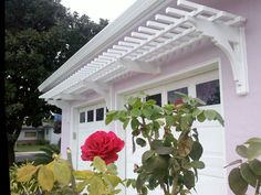 Pergola Above Garage Door Key: 5887815448 Garage Trellis, Garage Pergola, Outdoor Pergola, Patio Roof, Pergola Plans, Diy Pergola, Outdoor Decor, Pergola Ideas, Arbor Ideas
