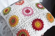 Crochet Cushion Cover with multi colors edged in White