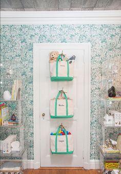 Print Wallpaper + Acrylic Cube Displays + Door Hooks & Canvas Bags