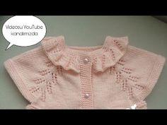 Chaleco de bebé con cuello de volantes parte / Cómo hacer un collar de volantes, Baby Cardigan Knitting Pattern, Baby Knitting Patterns, Knitting Designs, Crochet For Kids, Crochet Baby, Baby Barn, Hand Embroidery Videos, Knitting Videos, Crochet Fashion