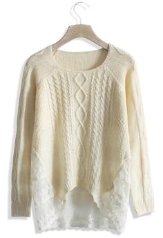 Romantic Cable Knit Sweater with Lace Panel - Sweaters - Tops - Retro, Indie and Unique Fashion