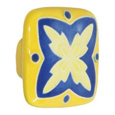 Acorn Square Hand Painted Porcelain Knob -  Blue And Yellow With X Design