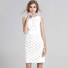 2017 New Summer Dress Women Sexy Sleeveless Solid Color Slim Large Size Dresses  Fashion Casual Big Size White Lace Mini Dress d087d0160bc7