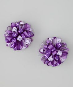 Take a look at this Purple Puff Clip - Set of Two by Sweet Treat Bows on #zulily today!