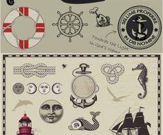 Download This:  Vintage marine elements vector