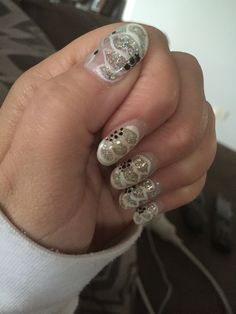 Gel, nail art. Same design as before but with a little more added.