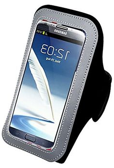"""myLife Livid Black and Clouded Gray {Rain Resistant Velcro Secure Running Armband} Dual-Fit Jogging Arm Strap Holder for Samsung Galaxy Note 4 """"All Ports Accessible"""" myLife Brand Products http://www.amazon.com/dp/B00S734G7K/ref=cm_sw_r_pi_dp_wxaYub1G1KT76"""