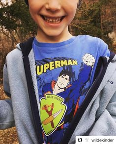 @wildekinder Uper-Man proudly wears our patch on his chest to bring the wilderness back to the kids! Are you a wild one? #wildekinder #wildkids #naturkinder