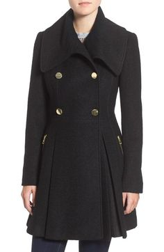GUESS Envelope Collar Double Breasted Coat (Regular & Petite) available at #Nordstrom
