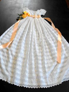 Vintage English Christening Gown...beautifully embroidered...  from FRENCH VINTAGE LINENS AND ANTIQUES on Etsy