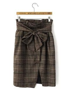 Womens Plaid Skirt - Gray Gradient