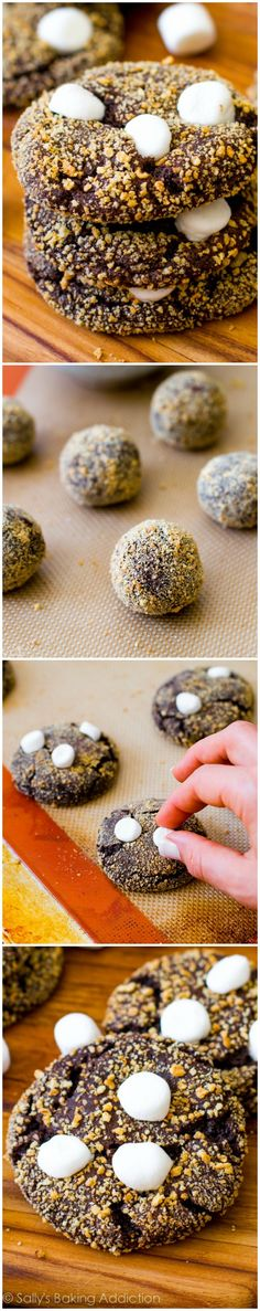 S'more Chocolate Crinkle Cookies - Soft, chewy chocolate crinkle cookies rolled in graham cracker and topped with marshmallows.