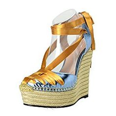 71836f5dbdf Gucci Women s Blue Leather Ankle Strap Wedges Sandals Shoes List Price    800.00 Price   389.99