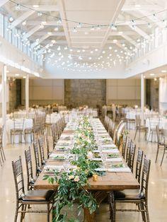 minimal rustic wedding reception with twinkle lights   Photography: Elizabeth Marie Weddings + Events