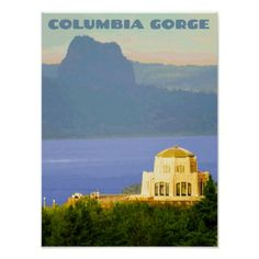 Vintage Columbia Gorge Travel Poster - retro posters classy cool vintage