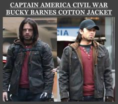 Captain America Civil War Bucky Barnes Cotton Jacket for sale at discounted price.  #CaptainAmerica #CivilWar #BuckyBarnes #MensJacket #geektyrant #geek #geekcheezburger #cheezburger #Cosplay #Fashion #Shopping #MensWear #StyleMens #MensOutfit #Sexy #Hot #Celebrity
