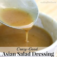 Crazy-good Oriental Salad Dressing that you'll love! Copycat Asian dressing from your favorite restaurant. Tutorial of how to make Asian Dressing for Oriental Chicken Salad salad dressing recipe vinaigrette Chinese Chicken Salad Dressing, Asian Chicken Salads, Asian Sesame Dressing, Sesame Salad Dressing, Sweet Asian Dressing Recipe, Applebees Oriental Chicken Salad Dressing Recipe, Asian Coleslaw Dressing, Best Dressing Recipe, Japanese Ginger Dressing