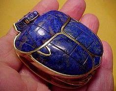 Magnificent 14K Lapis Lazuli Scarab Pendant