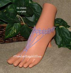 Lovely Lavender Barefoot Sandals Toe Rings Anklet