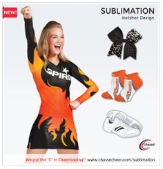 Chassé sublimation cheerleading uniform outfit, featuring Maddie Gardner. Design your unique uniform now.
