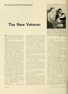 "The Ohio Alumnus, May 1953. ""The New Veteran: New GI Joe gets a Bill and vet group grows."" :: Ohio University Archives"