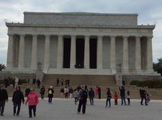 Full view of the Lincoln memorial,great view,his hands say in sign language A-L,his initials