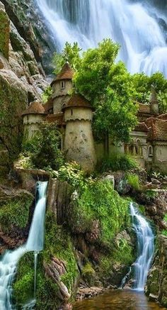 Beauty and the Beast.... Waterfall castle in Poland