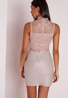 Missguided - High Neck Lace Crop Top Grey Lilac