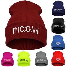 Зимняя шапка для женщин и мужчин мяу шапочки алмаз трикотажные теплые шапки плохие волосы день шерстяная шапочка Skullies De Inverno Gorros шапки купить на AliExpress
