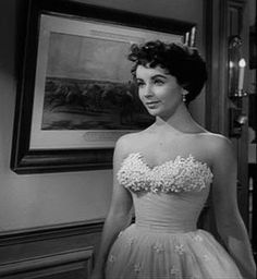 Liz Taylor in White floral-embellished strapless (A Place in the Sun)