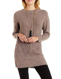 open back cable knit tunic sweater