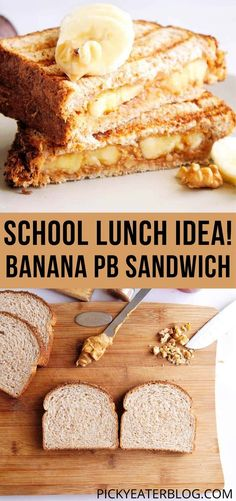 Elevate the usual PBJ with this easy, quick, yet super tasty Banana Peanut Butter Sandwich! It's easy to pack in lunch boxes, or a simple to make sandwich when homeschooling. Anyway you look at it, it's a healthy way to fuel up at lunch! Vegetarian Snacks, Vegetarian Recipes Easy, Easy Recipes, Dinner Recipes, Cooking Recipes, Healthy Lunches For Work, Healthy Toddler Meals, Work Lunches, Gourmet Sandwiches