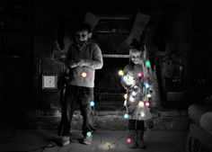 Sibling Christmas picture idea with lights :)